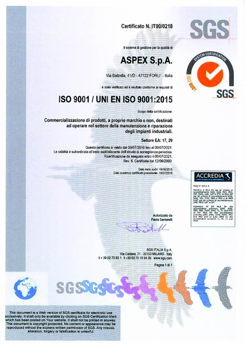 Ditta certificata ISO 9001